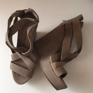 Chinese Laundry Tan Suede Wedge Heels